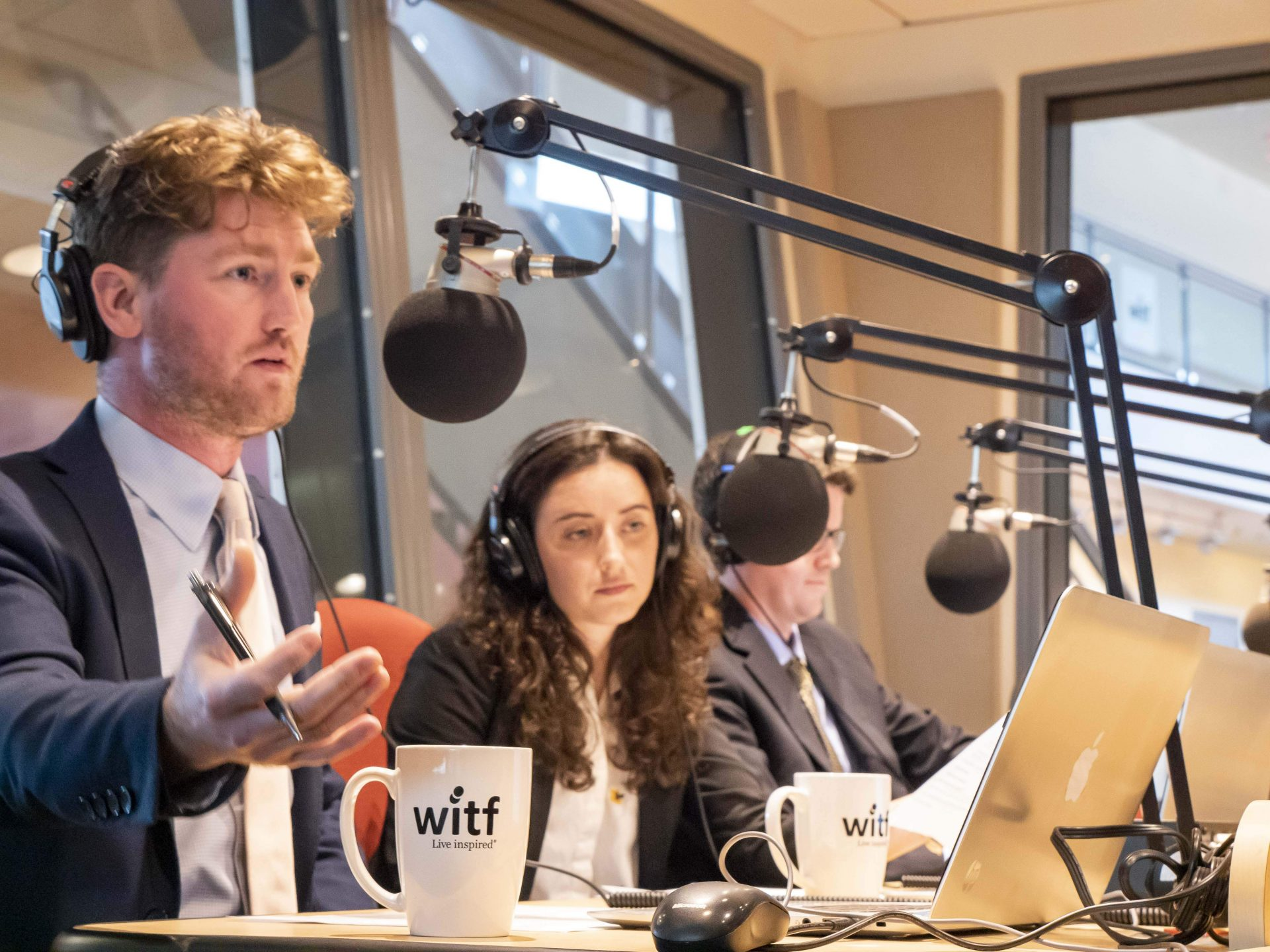 Kevin McCorry, left, asks Gov. Tom Wolf a question during an interview at WITF Public Media Center on June 20, 2019.