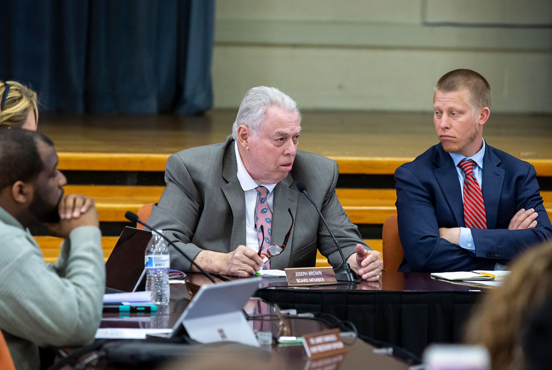 Harrisburg School District Board directors Joseph Brown and Judd Pittman during a special meeting to vote on hiring in-house solicitor James Ellison, Monday, April 22, 2019.
