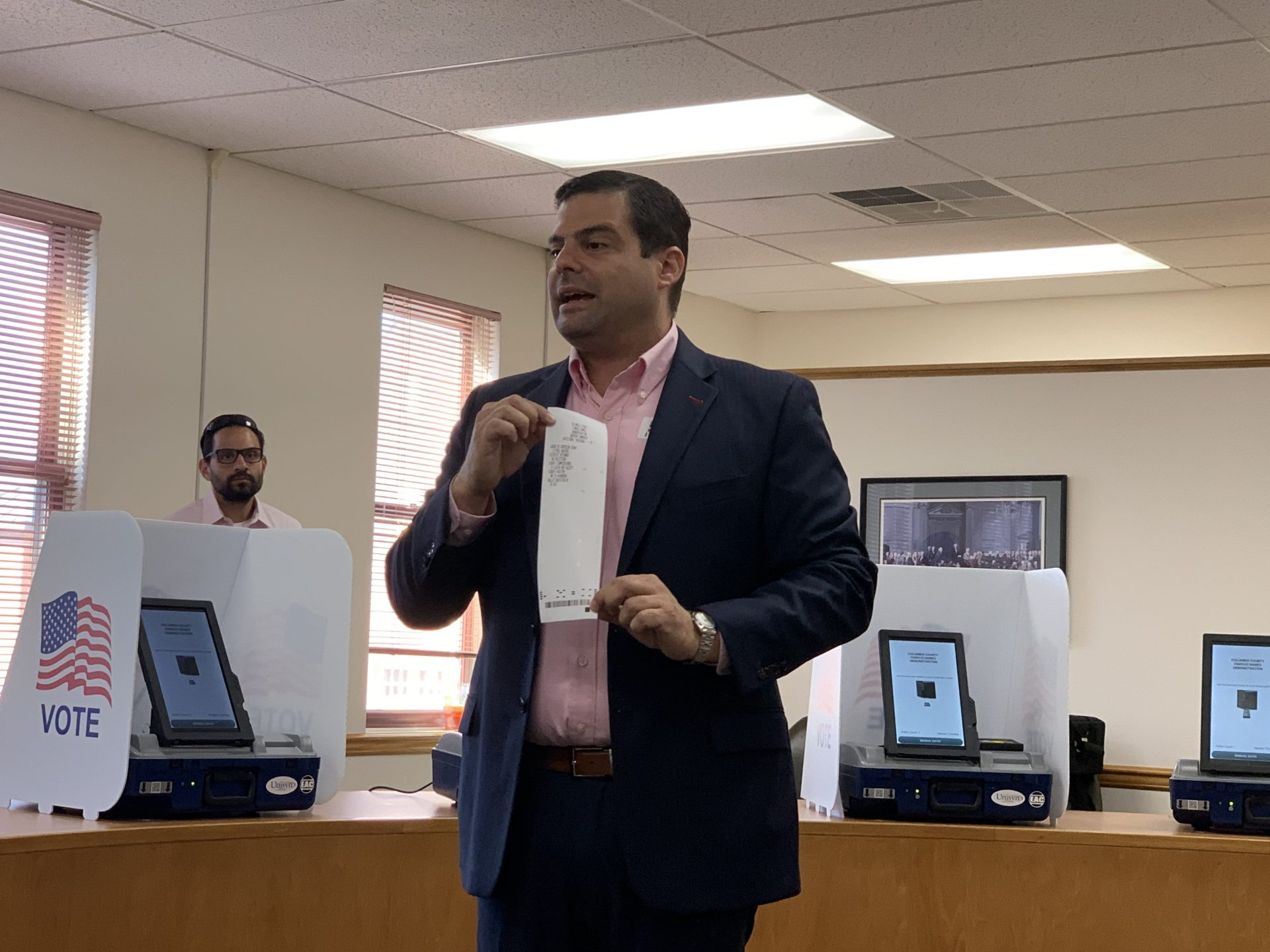 ElectionIQ Vice-President Dan Chalupsky presents to Columbia County officials in Bloomsburg. (Emily Previti, PA Post)