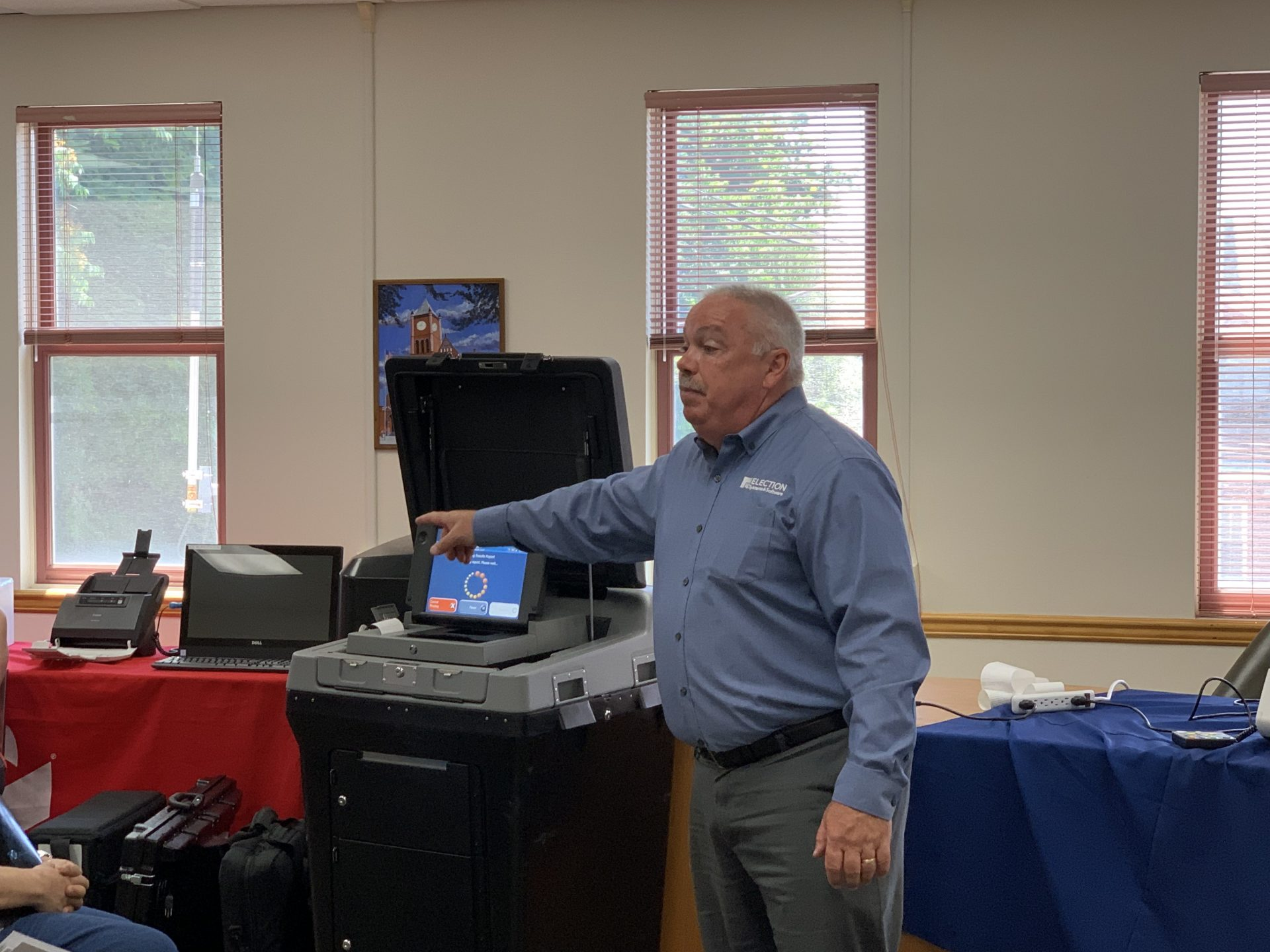 Election Systems & Software Regional Sales Manager Joseph Passarella makes his pitch in Columbia County June 26, 2019. (Emily Previti/PA Post)