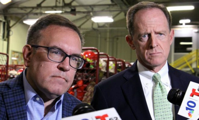 Environmental Protection Agency administrator Andrew Wheeler (left) and U.S. Sen. Pat Toomey (R-Pa.) visit Monroe refinery in Trainor, Pa., to discuss eliminating the federal regulation that requires blending ethanol with gasoline.