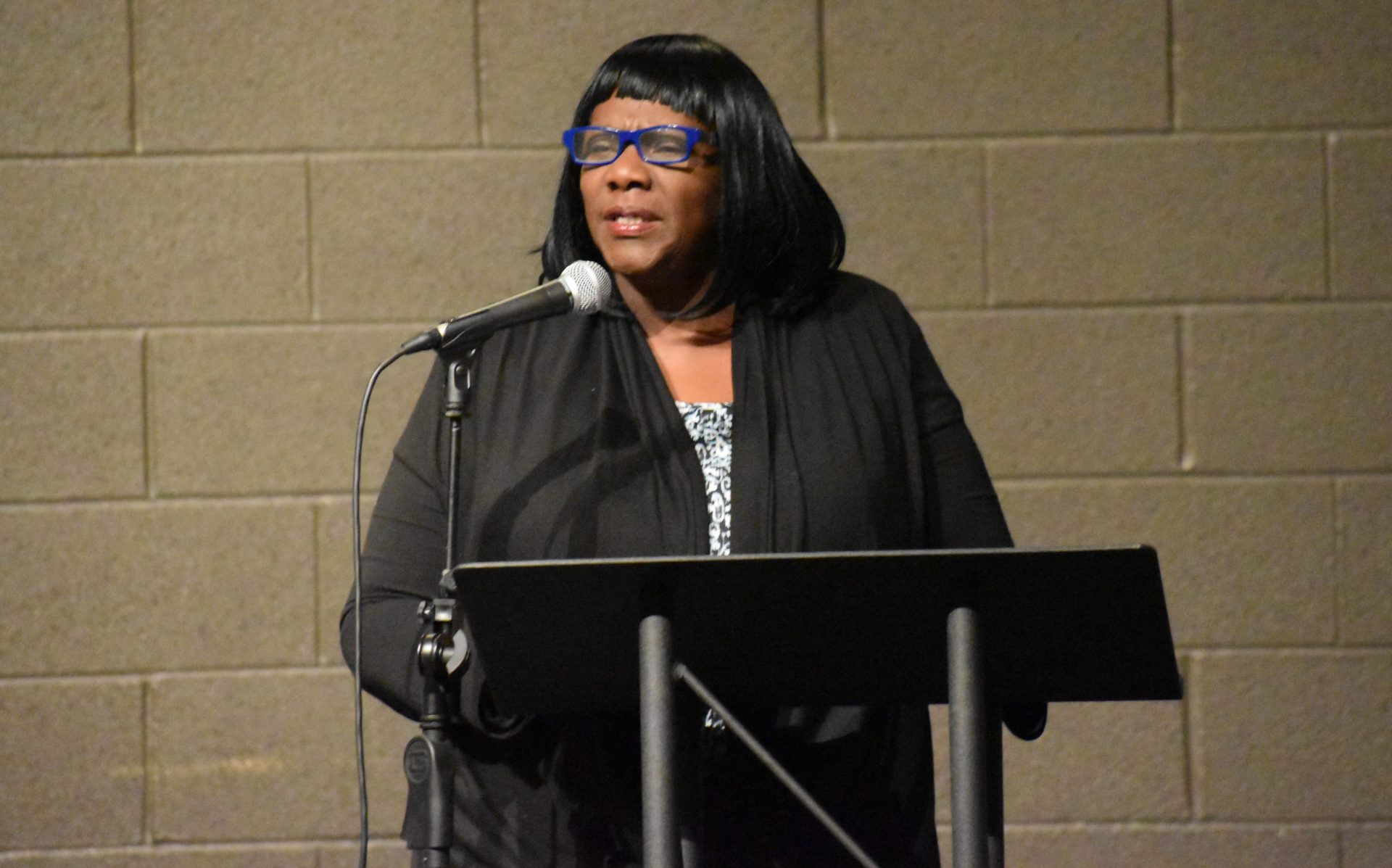 Serena Frost Gillespie speaks during a community event on April 23, 2019, at Logos Academy in York.