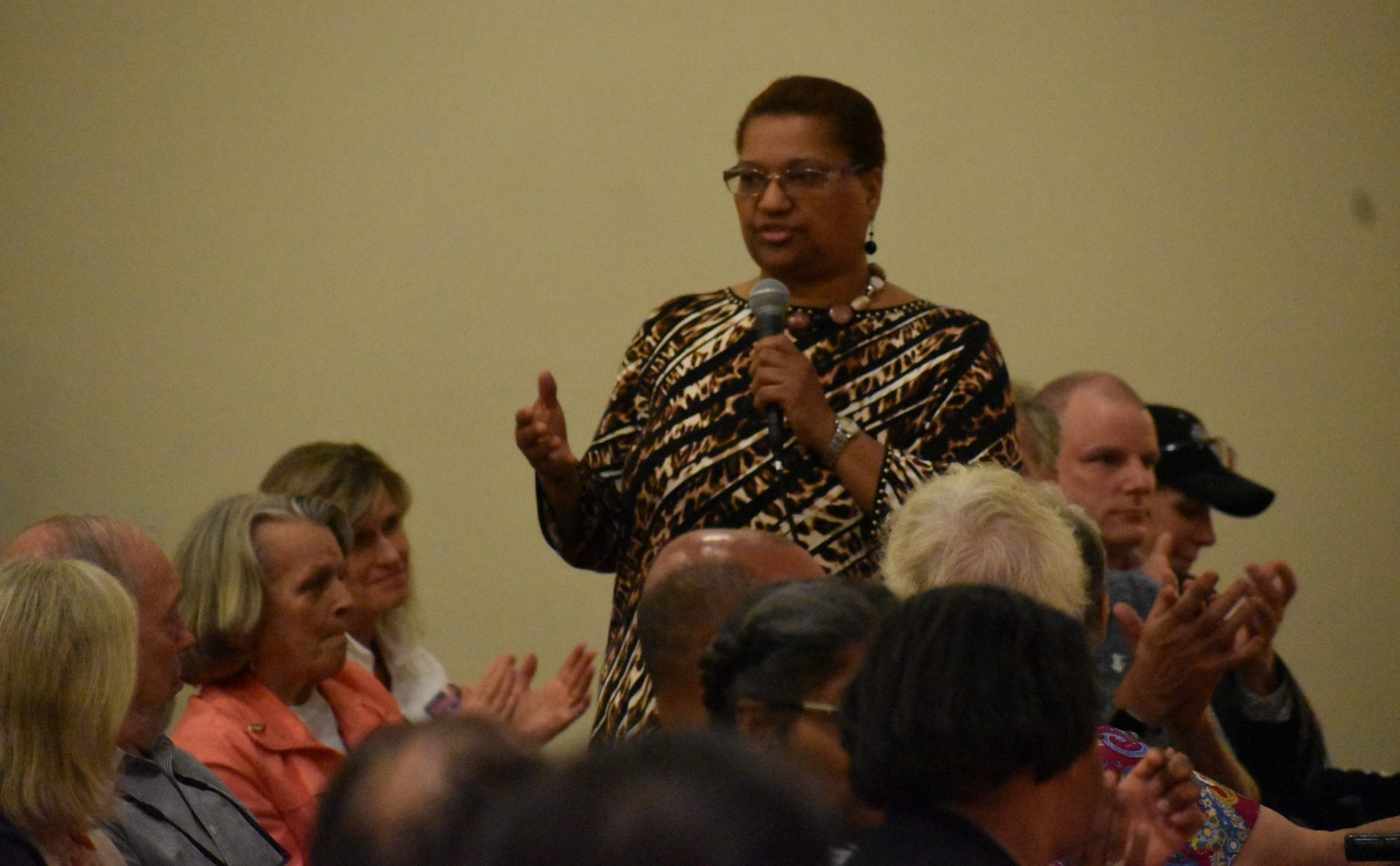 The Rev. Ramona Kinard, one of the organizers of the 10,000 Acts of Kindness initiative, speaks at a community event on April 23, 2019.