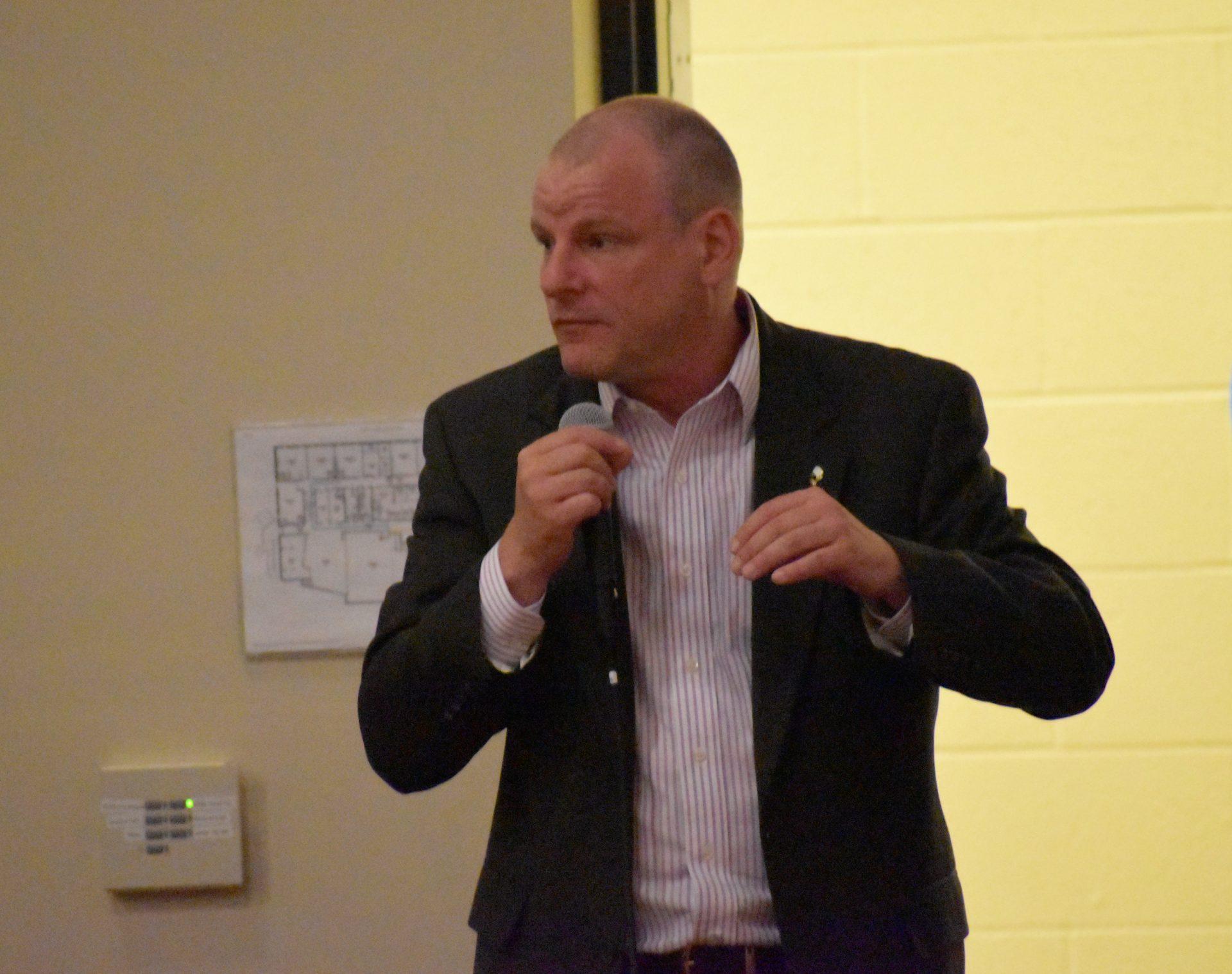 York Mayor Michael Helfirch speaks during a community event on April 23, 2019.