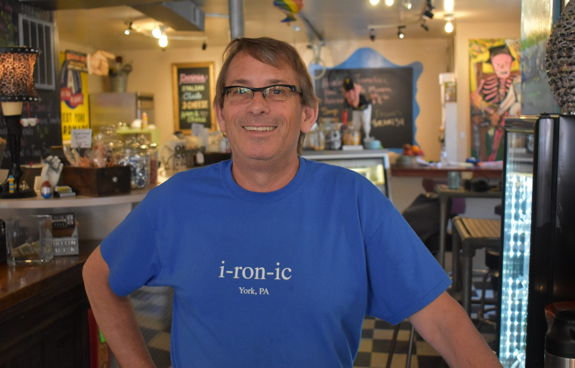 David Smith, co-owner of i-ron-ic in York, is seen at his coffee shop on June 12, 2019.