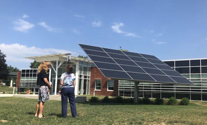 The Lombardo Welcome Center at Millersville University produced 75 percent more energy than it consumed in 2018.