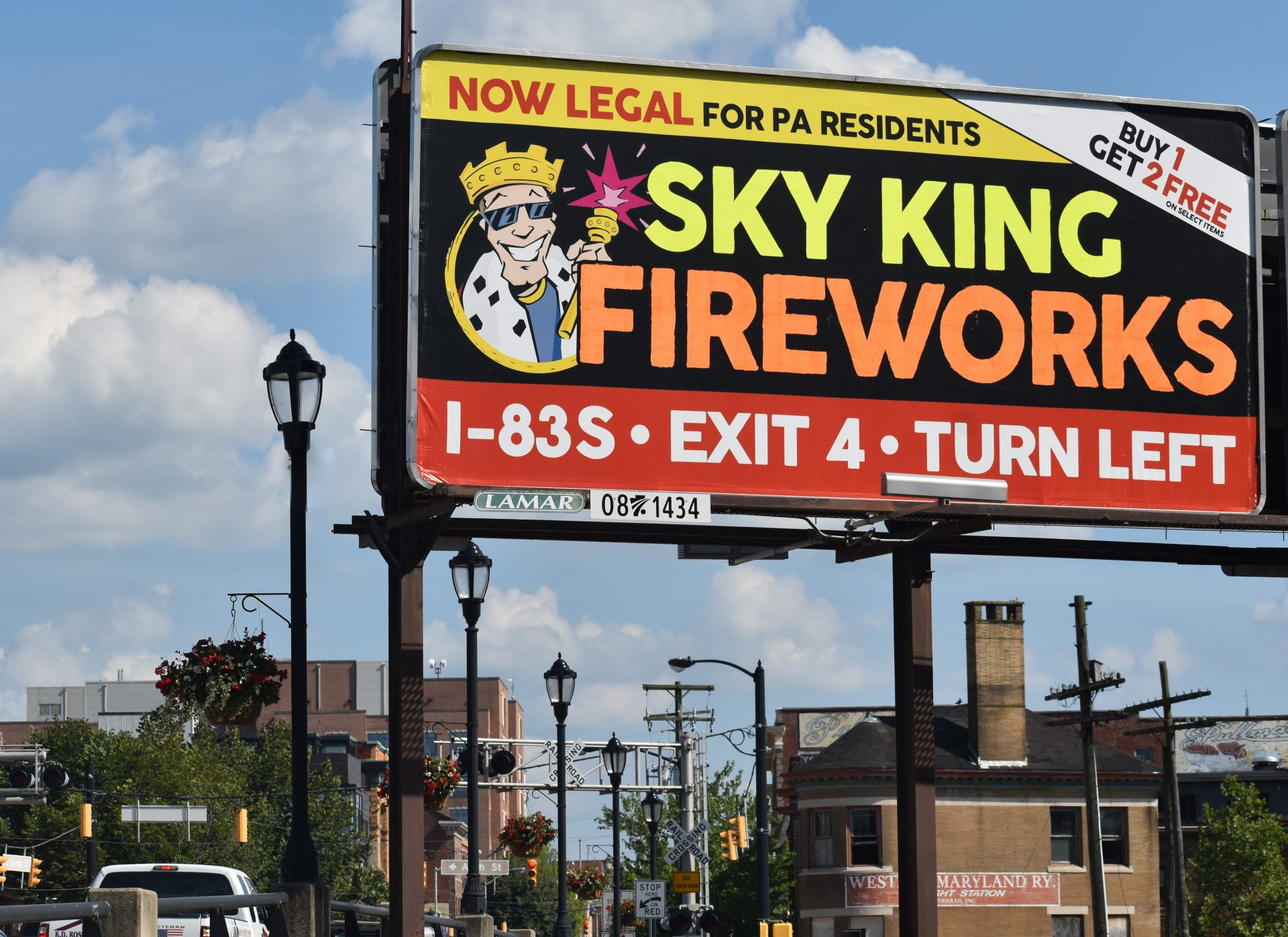 A billboard in York city, seen on July 10, 2019, highlights a change in Pennsylvania that made consumer fireworks legal for Pennsylvania residents.