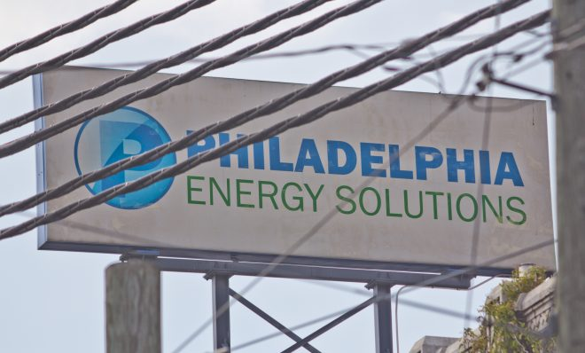 Philadelphia Energy Solutions refinery in South Philadelphia. Workers are in the process of neutralizing a highly toxic substance as part of a shut down.