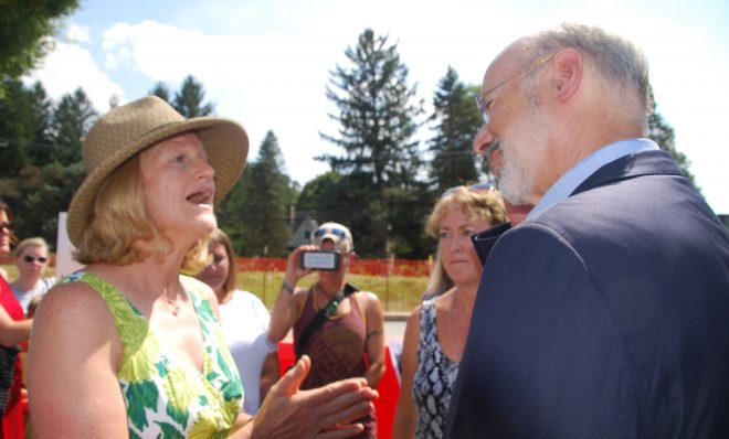 Ginny Kerslake, an anti-pipeline activist, urged Gov. Tom Wolf to halt construction of the Mariner East pipelines.