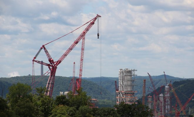 Shell's ethane cracker under construction in June, 2019 in Beaver County, Pa.