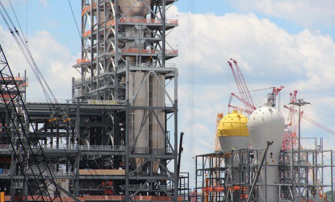 Shell's ethane cracker under construction in June, 2019 in Beaver County, Pa. A similar plant is proposed to be built in Belmont County, Ohio, roughly a 90-minute drive away.