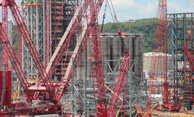 Shell's ethane cracker under construction in June 2019 in Beaver County, Pa.