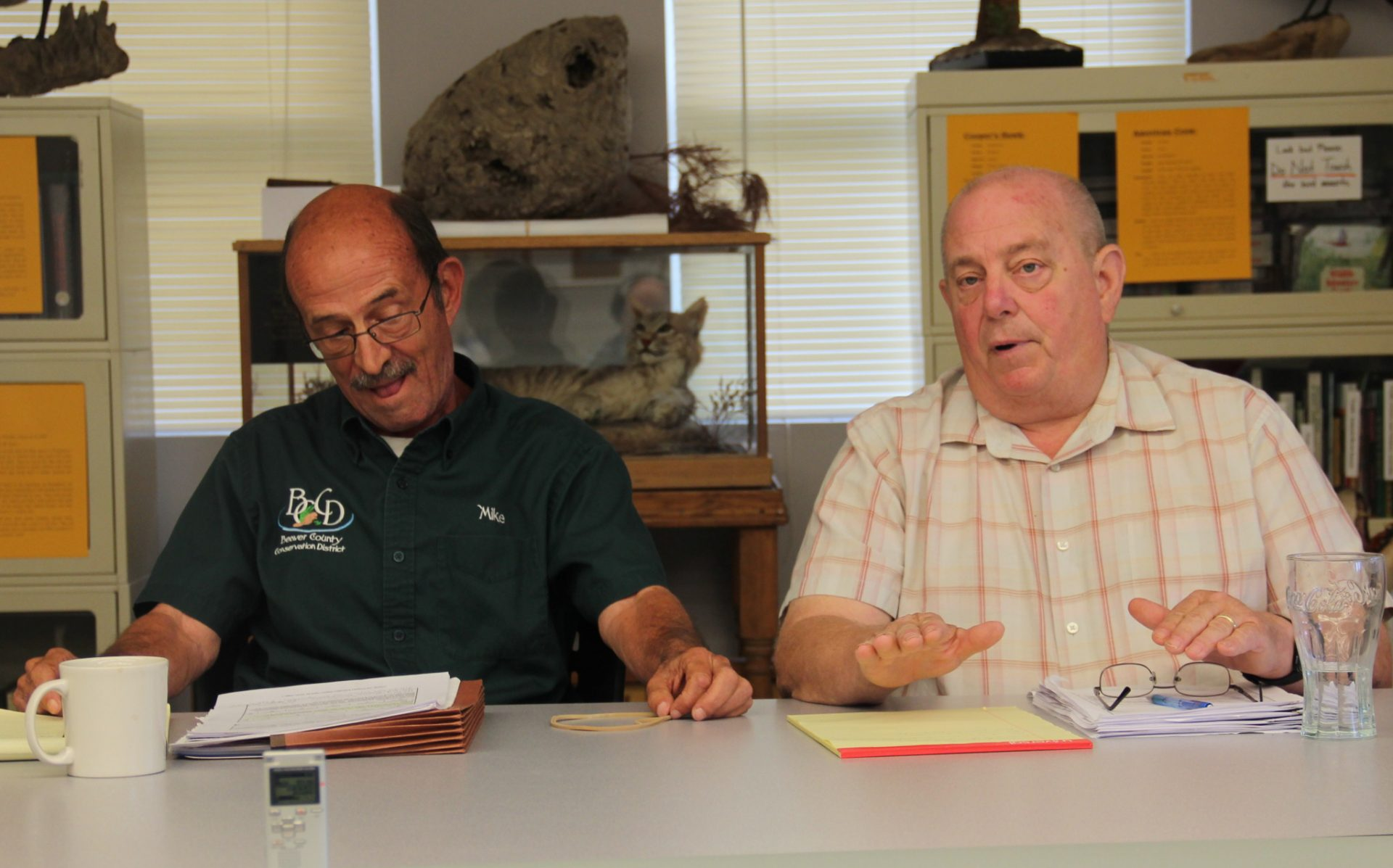 Beaver County Conservation District executive director Jim Shaner, right, and Michael Price, its board chairman, at a public meeting on the district's erosion permitting Aug. 28, 2019. Photo: Reid R. Frazier
