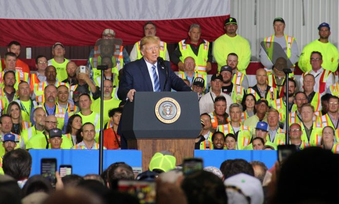 President Donald Trump speaking to workers at Shell's Beaver County ethane cracker August 13, 2019.