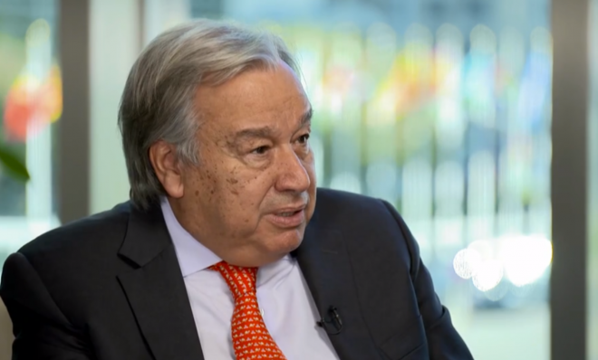 A screenshot showing United Nations Secretary General Antonio Guterres during an interview Tuesday, Sept. 17 with Mark Hertsgaard of The Nation and Mark Phillips of CBS News, who represented the Covering Climate Now collaboration.