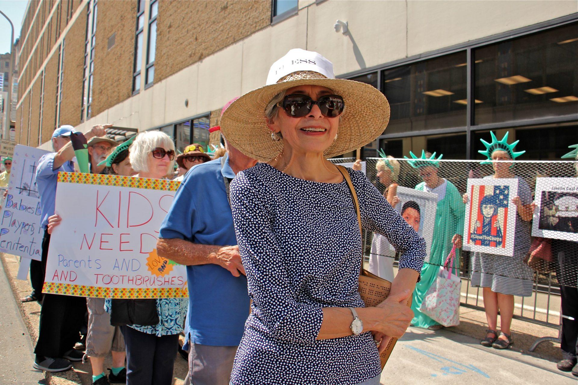 Aurora Camacho De Schmidt of ElderWitness participates in a protest outside Philadelphia's ICE field office.