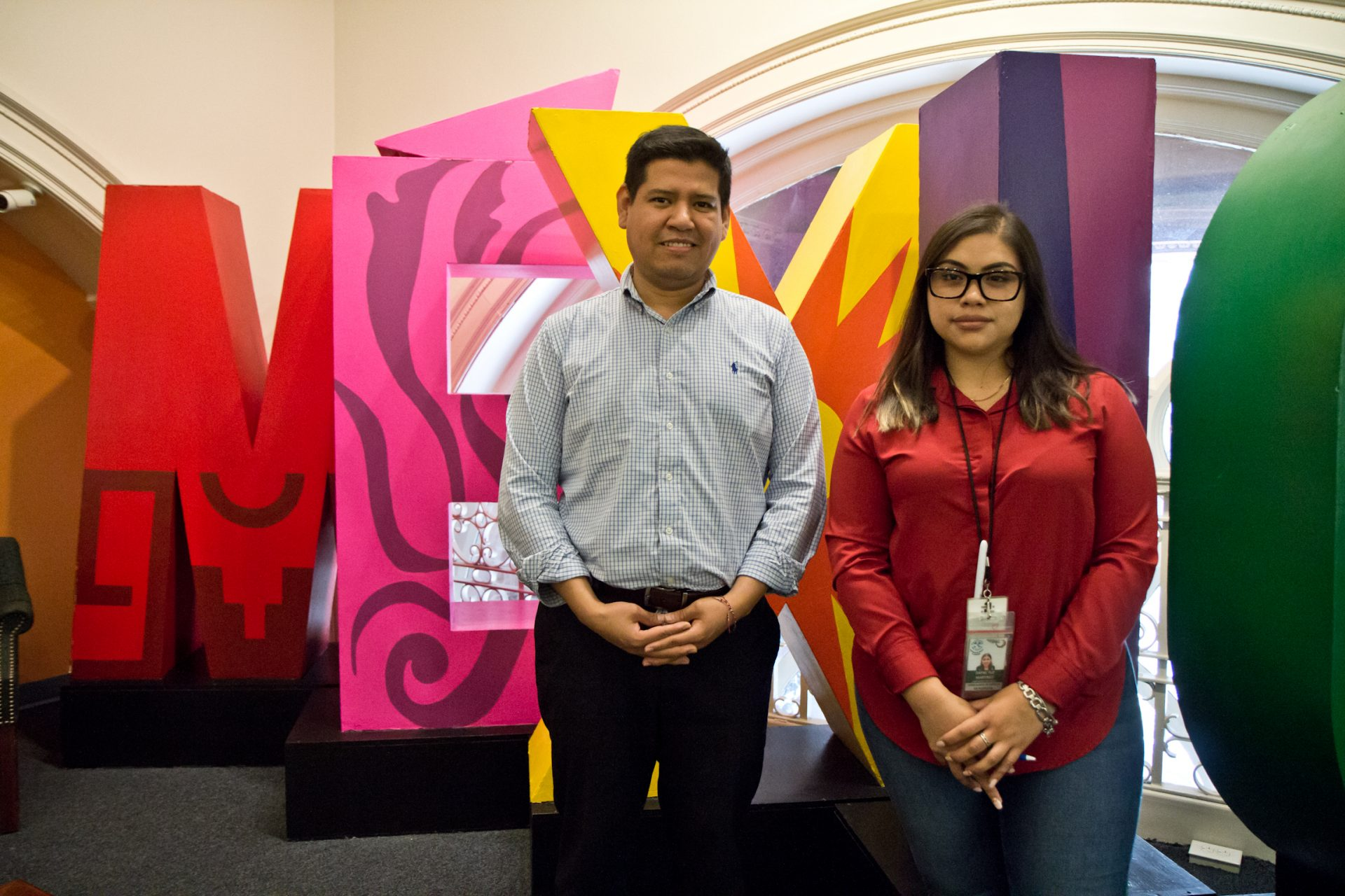 Humberto Cruz (left) is the coordinator for community efforts and Dafne Tuz Martinez coordinates the health program at the Mexican consulate in Philadelphia.
