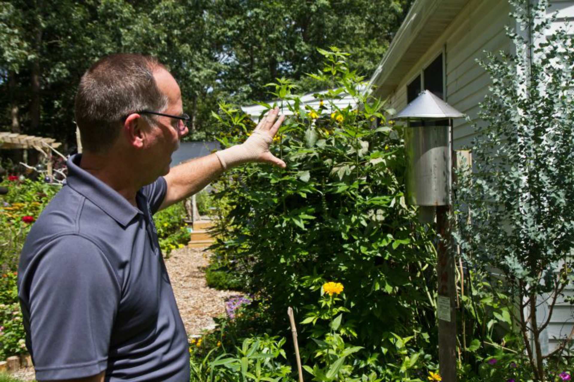 Peter Bosak, superintendent of the Cape May County Department of Mosquito Control, explains how mosquitos are trapped.