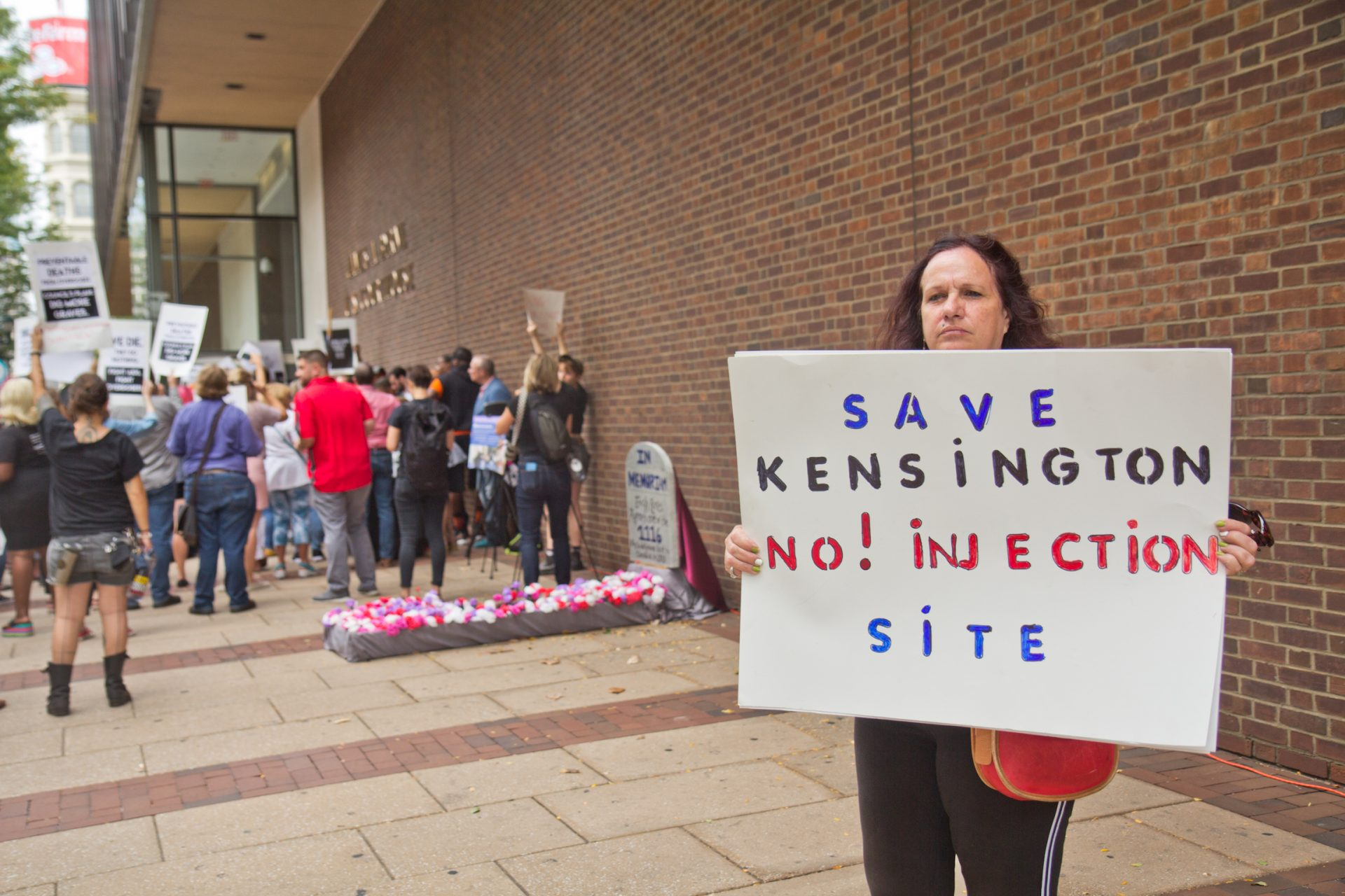 """""""Evangelist"""" Theresa is a block captain in the neighborhood where the Safehouse injection site is proposed. She was one of two counter protesters at a rally in support of the site."""