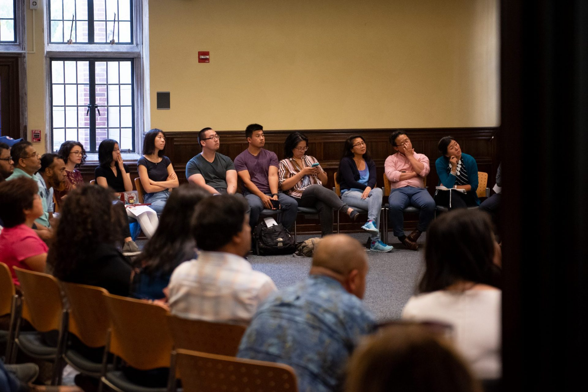 Attendants listen to a presentation during the Asian American/Pacific Islander town hall on the 2020 census at the University of Pennsylvania on Saturday, Sept. 7, 2019.