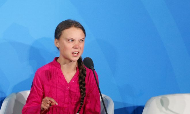Environmental activist Greta Thunberg, of Sweden, addresses the Climate Action Summit in the United Nations General Assembly, at U.N. headquarters, Monday, Sept. 23, 2019.