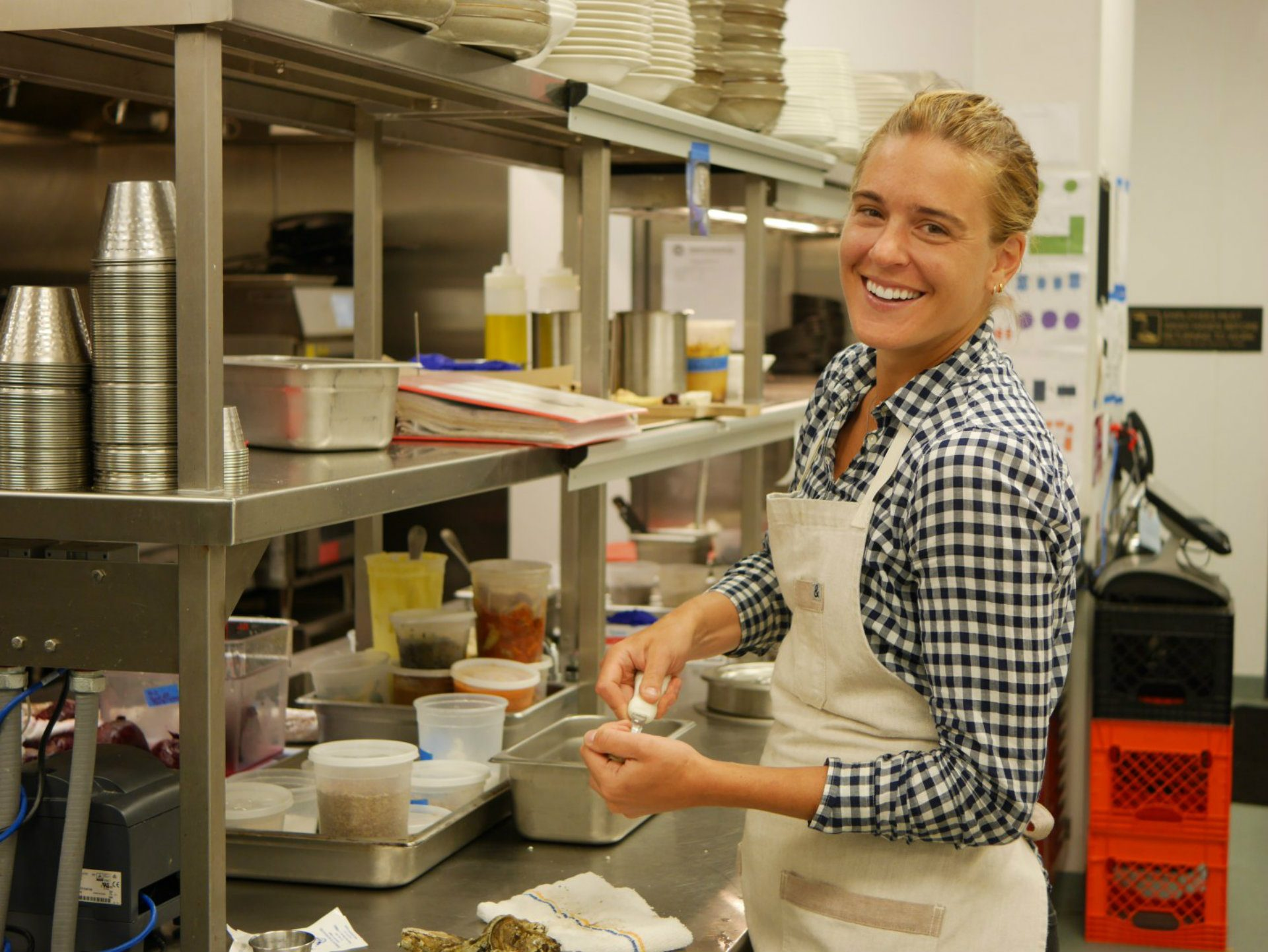 Jessica Lewis, executive chef, prepares oysters at Spirit & Tales.