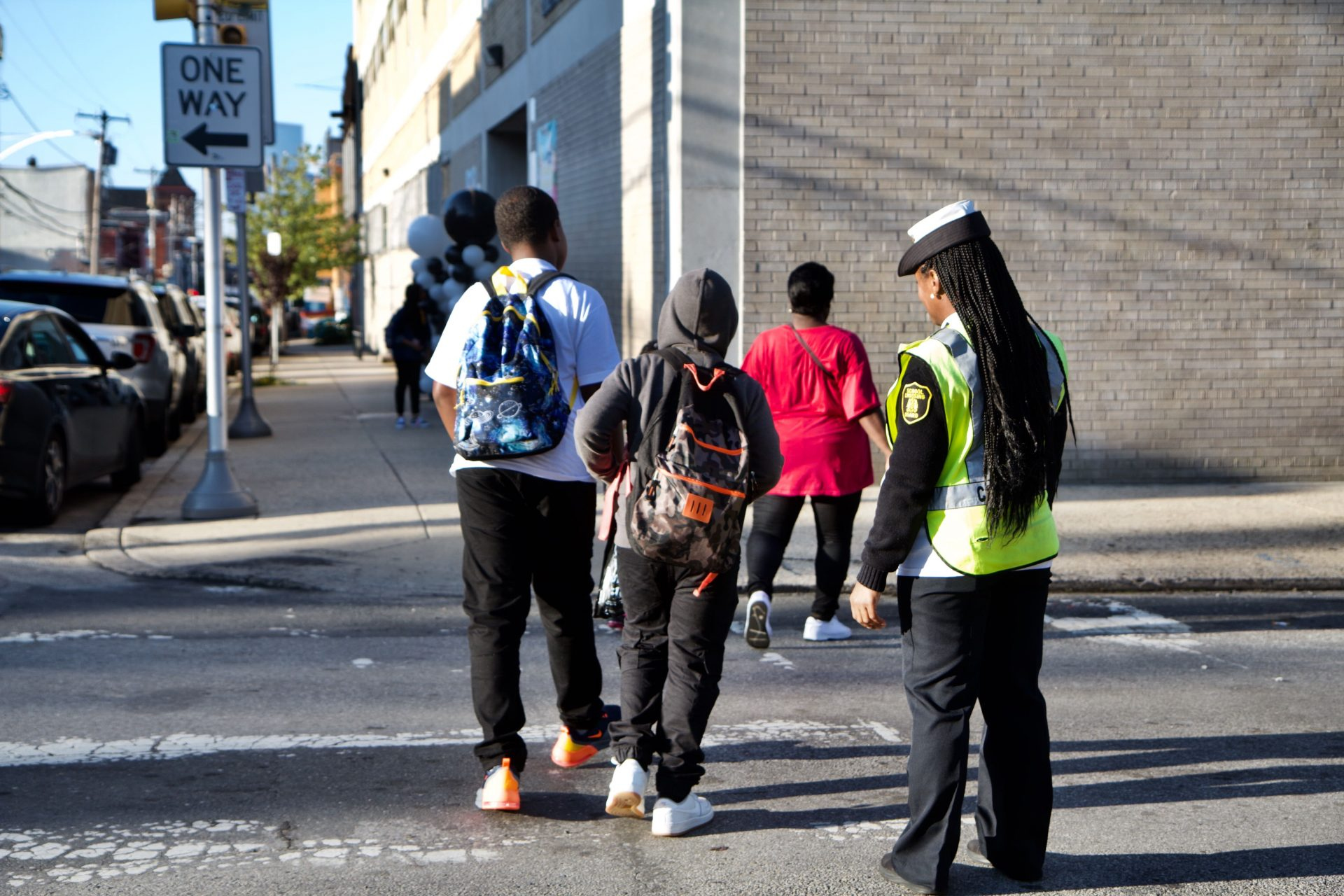 Philadelphia students arrive for the first day of school Tuesday.