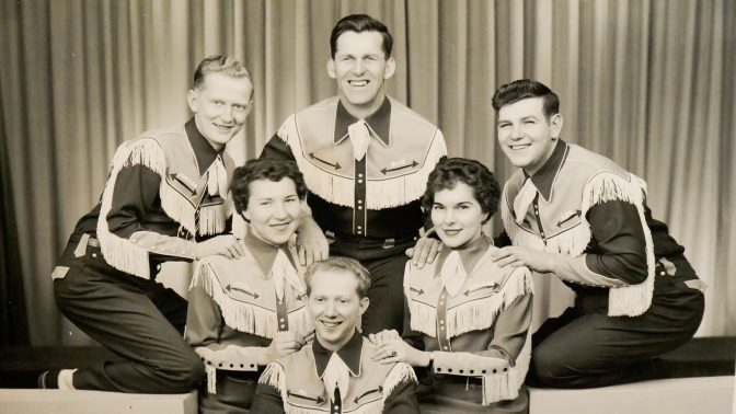 A black and white photo of Al Shade and the Short Mountain Boys and Girls