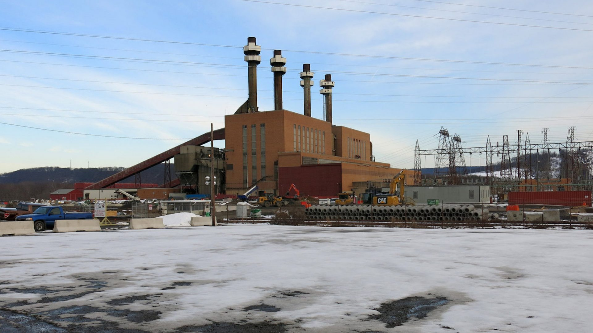 The coal plant in Shamokin Dam, Pa., is a local landmark that delivered electricity to this region for more than six decades. It closed in 2014. Next to it, a brand new natural gas power plant is under construction. The Sunbury Pipeline will feed Marcellus Shale gas into that plant.