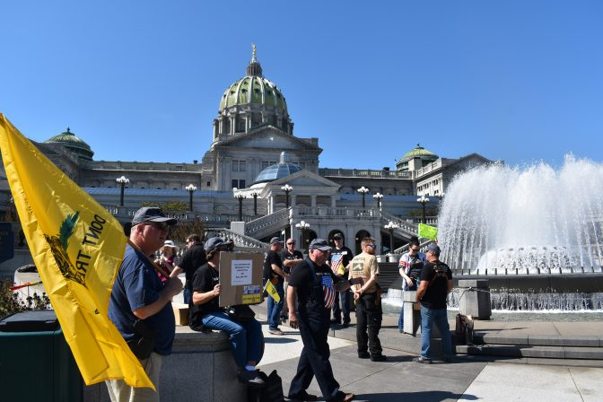 Demonstrators gather outside of the state Capitol in Harrisburg on Sept. 25, 2019, ahead of a gun hearing in the Senate Judiciary Committee.