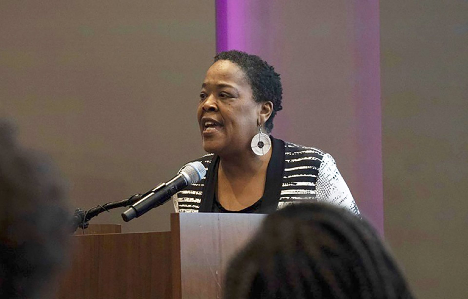 "In this June 20, 2019 photo provided by Meredith Williams, Jaribu Hill speaks at the Mississippi Civil Rights Museum in Jackson, Miss., during a reception honoring the life of civil rights activist Unita Blackwell. Hill didn't opt for law school until her early 40s. She'd been a singer, actress, teacher and labor organizer before learning a college classmate had become head of a group for black female judges. ""I can do that, too,"" she thought. Hill has since become a leading civil rights and workers' rights lawyer in Mississippi and now, at 70, she's part of a nationwide network of attorneys helping women without much money pursue often-costly sexual misconduct cases."