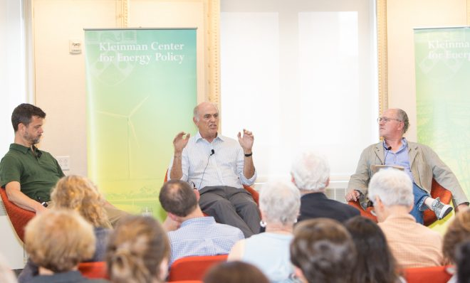 From left, David Roberts covers energy and climate change for Vox; Rafe Pomerance, chairman of Arctic 21, a network of organizations focused on communicating the unraveling of the Arctic as a result of climate change to policy makers and the public; and moderator Mark Hughes, founding faculty director of the Kleinman Center for Energy Policy at the center's event,