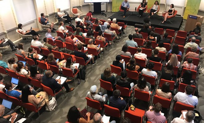 A crowd gathered to hear discussion about climate change adaptation, resilience, and social equity at the University of Pennsylvania's Kleinman Center for Energy Policy on Thursday, Sept. 12 in Philadelphia. The event was produced by StateImpact Pennsylvania, WHYY and the Kleinman Center.