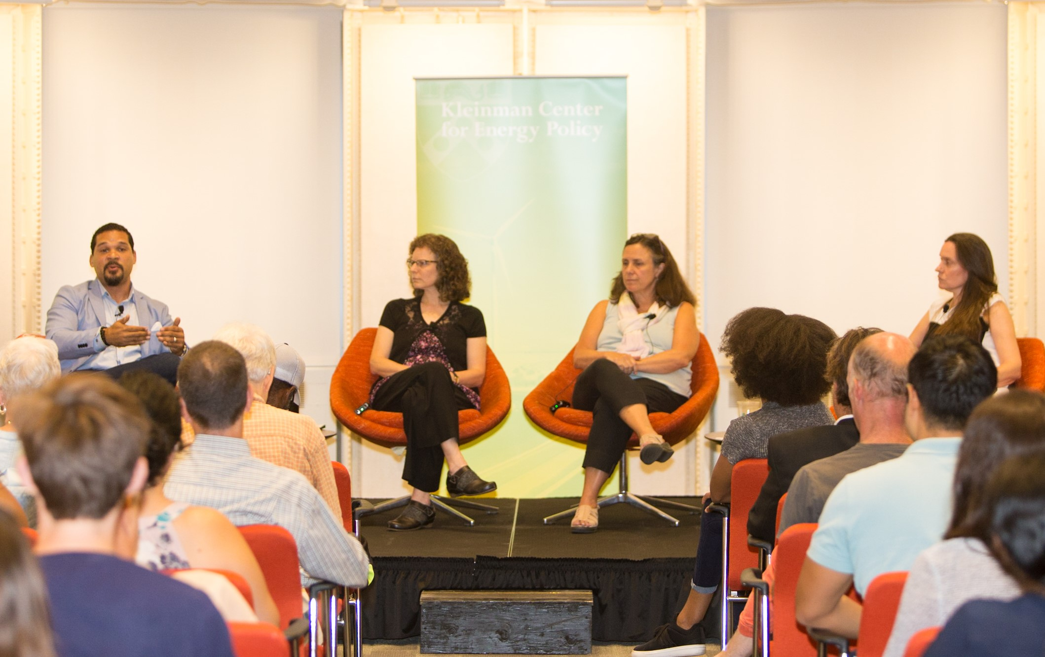 StateImpact Pennsylvania reporter Susan Phillips, right, moderates a panel on climate change adaptation, resilience, and social equity Thursday, Sept. 12 at the University of Pennsylvania's Kleinman Center for Energy Policy. Panelists are, from left, Charles D. Ellison, managing editor of ecoWURD.com; climate activist Tanya Seaman; and Jeanne Herb, climate researcher at Rutgers University.