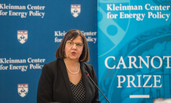 Cheryl LaFleur, former commissioner at the Federal Energy Regulatory Commission, received the Carnot Prize for distinguished contributions to energy policy from the Kleinman Center for Energy Policy at the University of Pennsylvania.