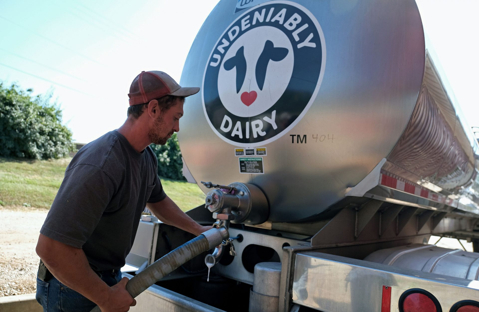 Brian Kuntzman, of Pottstown, works on filling a tanker truck with milk for delivery Sept. 25, 2019, at Ar-Joy Farms in West Fallowfield Township, Pennsylvania.