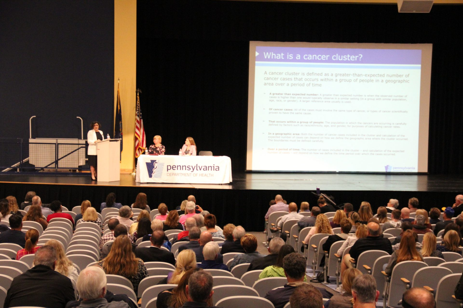 State Department of Health officials explain a cancer study to Washington County residents. Photo: Reid R. Frazier
