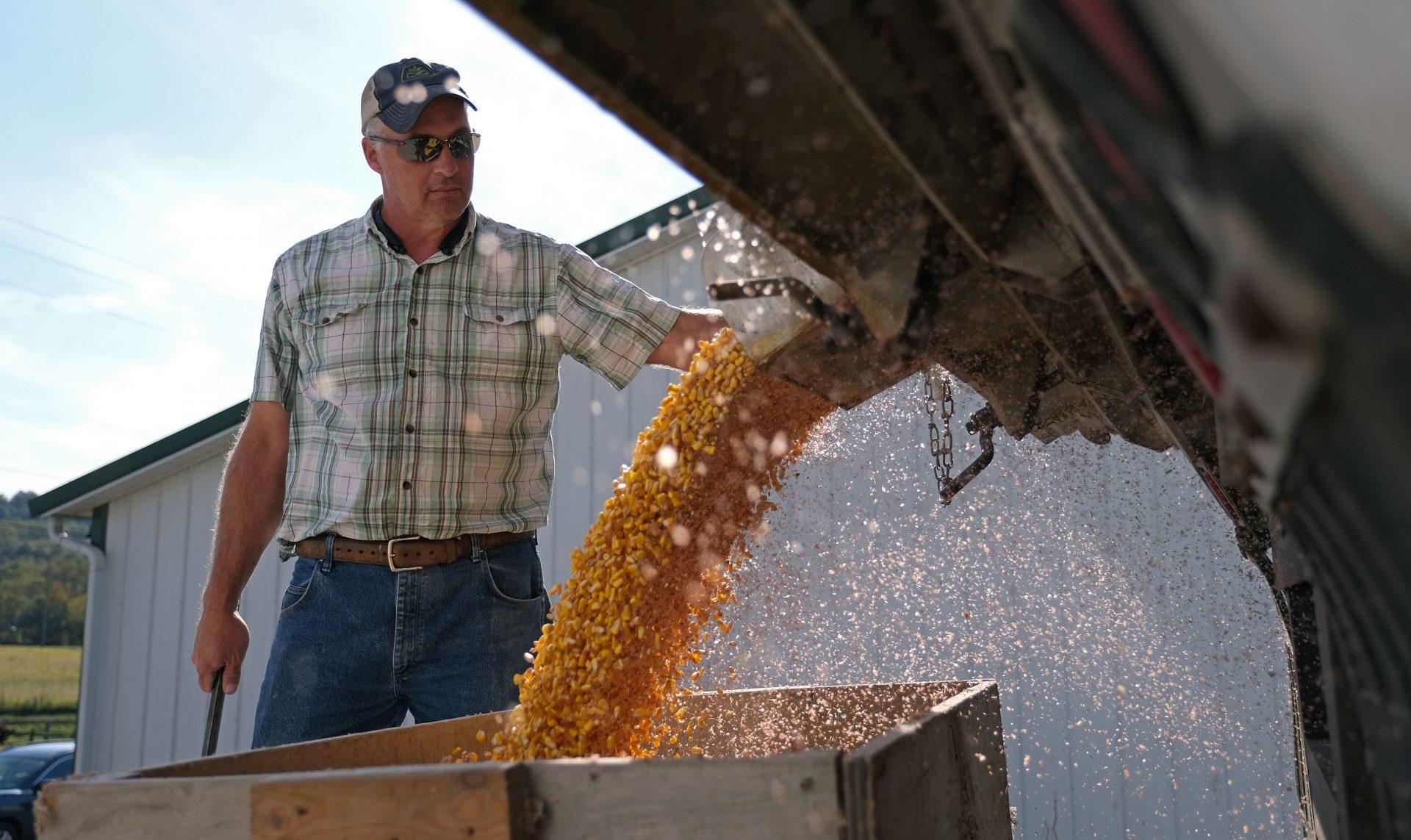 Grain farmer Mike Braucher works on unloading harvested corn Sept. 27, 2019, at Braucher Farms in Centre Township, Pennsylvania.