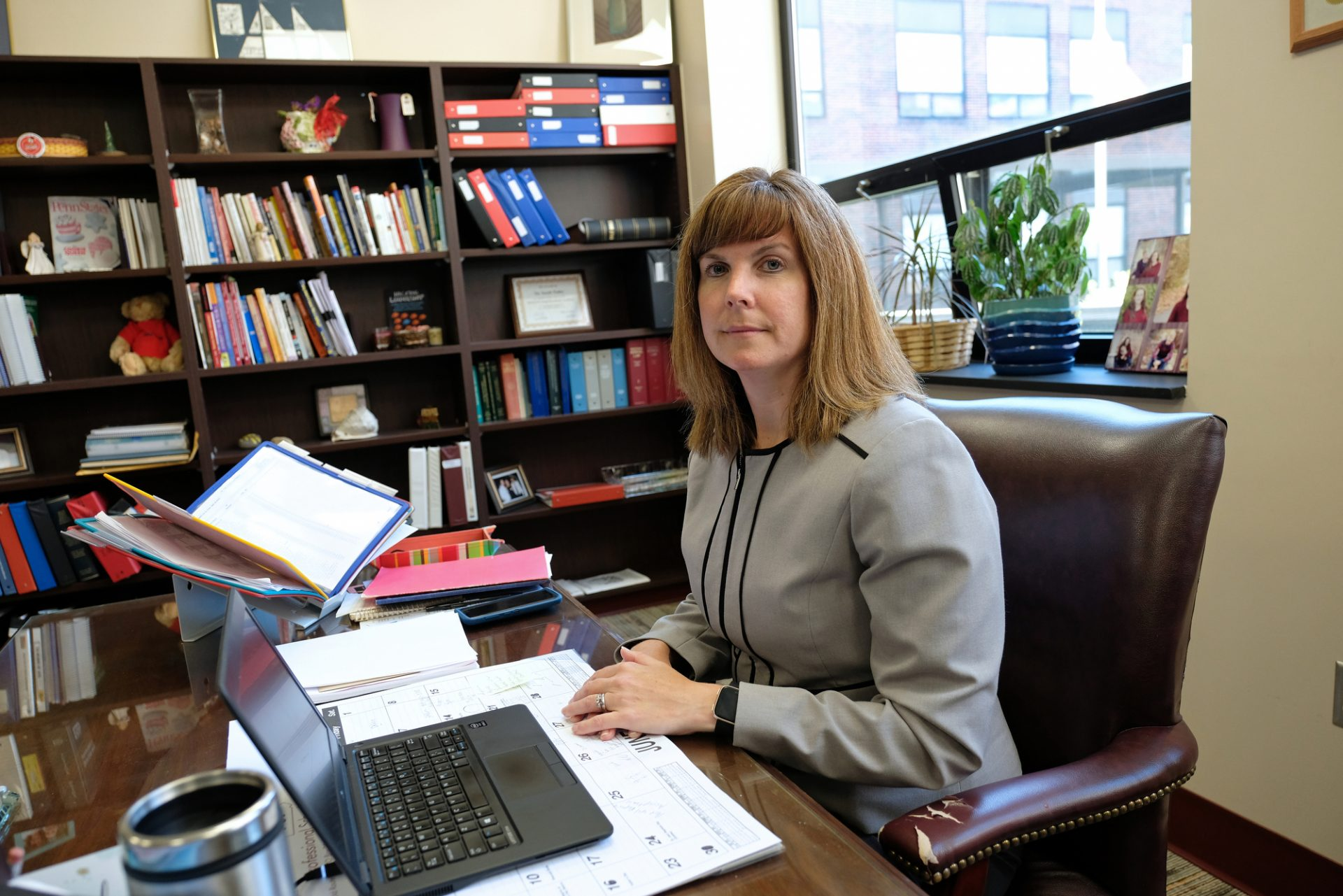 Saint Clair School District Superintendent Sarah Yoder poses while in her office June 11, 2019, during an interview about parents in her district using cyber charter schools as a way to avoid truancy issues. Yoder also spoke of the roles schools play in providing a daily welfare check on students with troubled or volatile home situations.