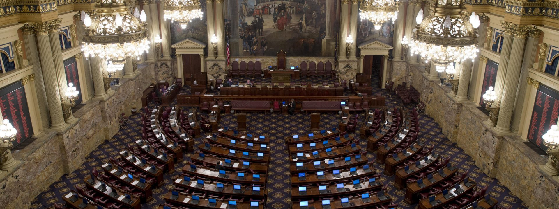 Shown is the Pennsylvania House of Representatives chamber Tuesday, Dec. 8, 2015, in Harrisburg, Pa.