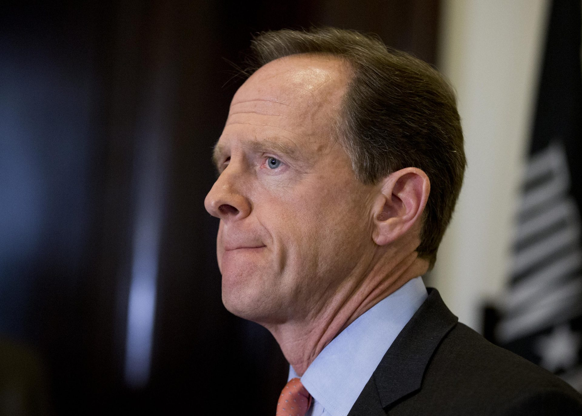 Sen. Patrick J. Toomey, R-Pa. speaks to reporters outside his office on Capitol Hill, in Washington, Tuesday, April 12, 2016.