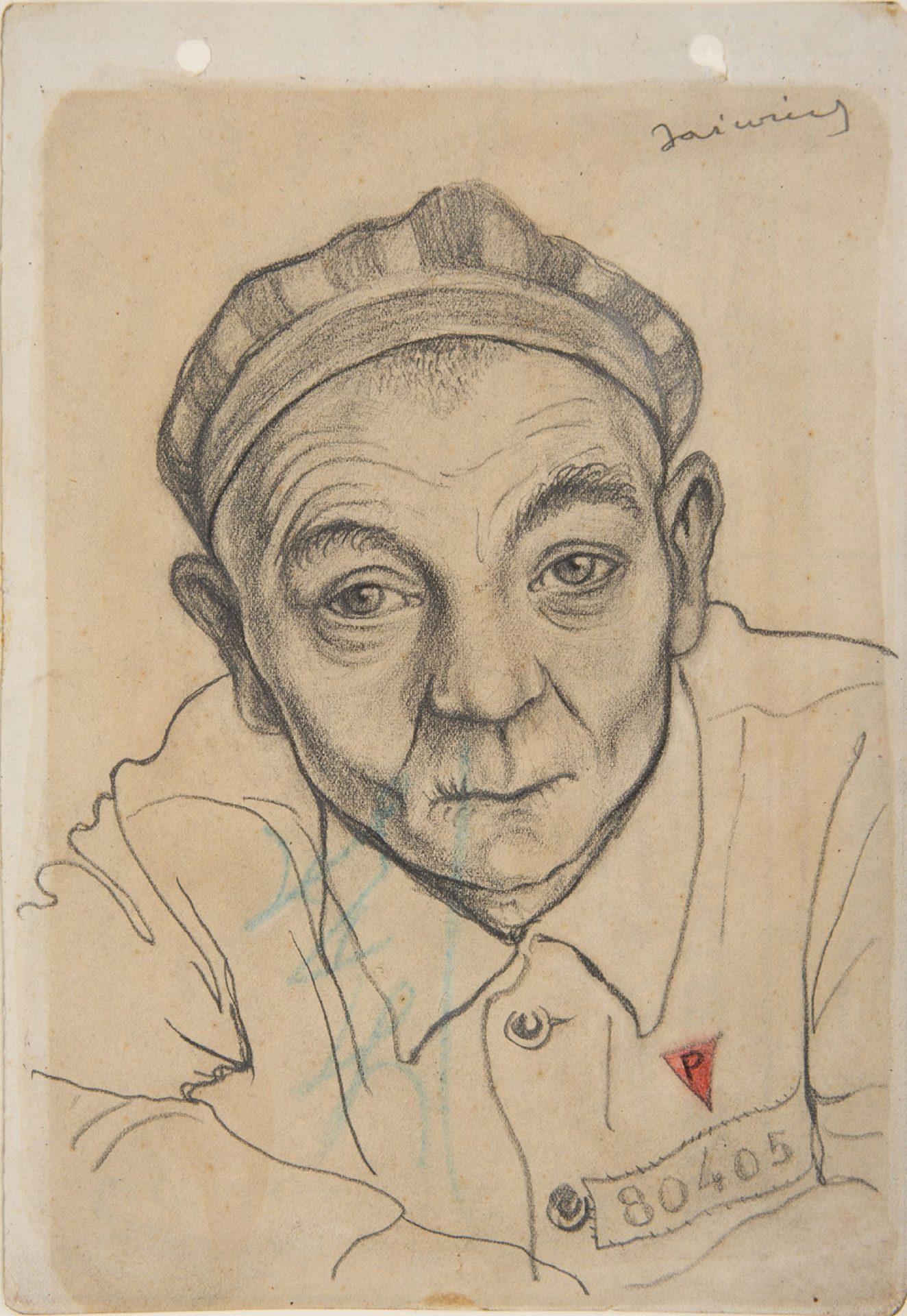 A Portrait of Piotr Kajzer, by Franciszek Jaźwiecki, Buchenwald 1944.
