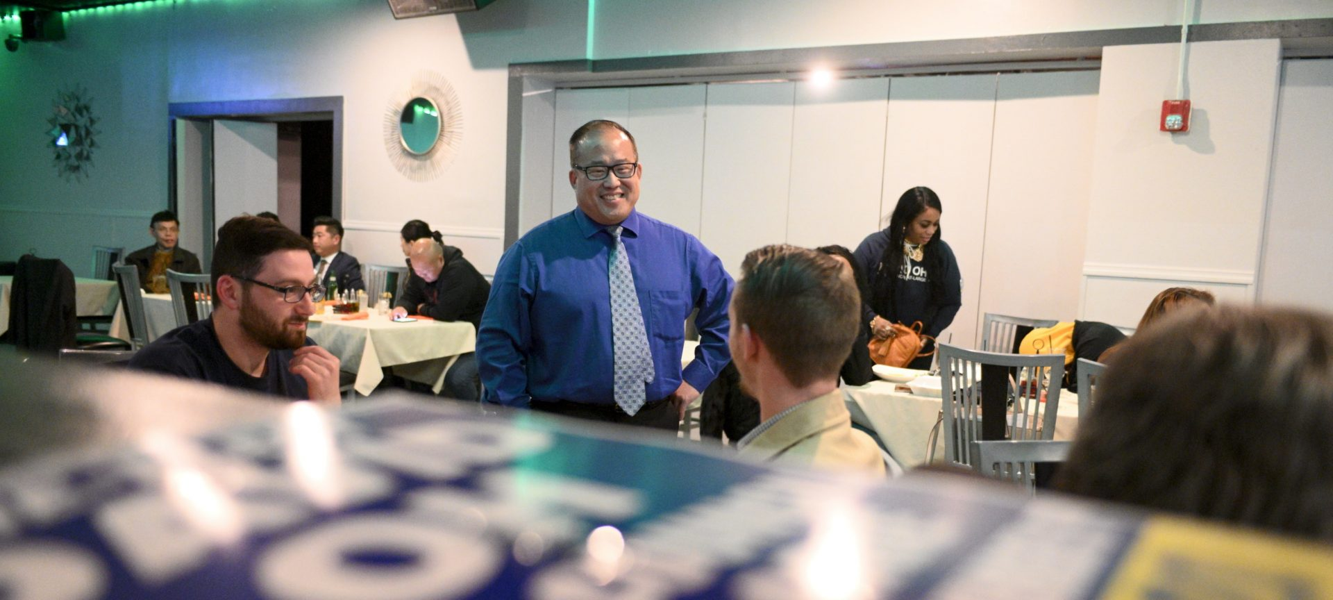 Results are coming in at a watch party for Incumbent Councilman at-large Republican David Oh, at Dimensions Sports Bar, in NorthEast Philadelphia, PA on November 5, 2019.