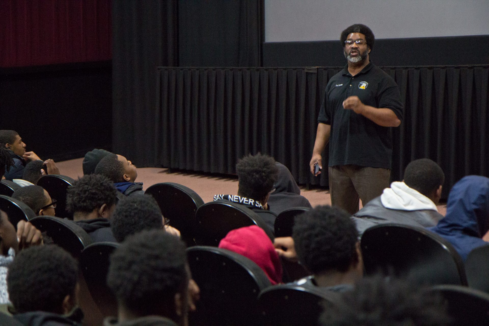 "Sharif El-Mekki talks to Philly students at the UA River View movie theater after a viewing of Kasi Lemmon's ""Harriet."""