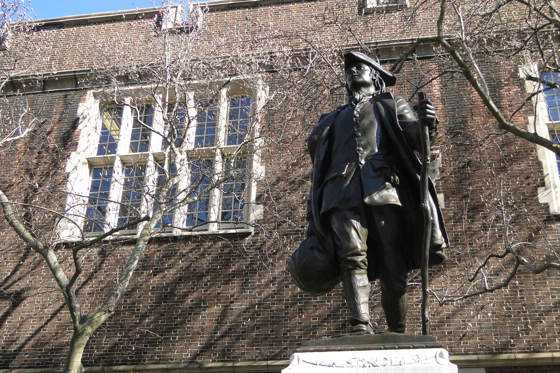 A statue of a young Ben Franklin at the University of Pennsylvania Campus.