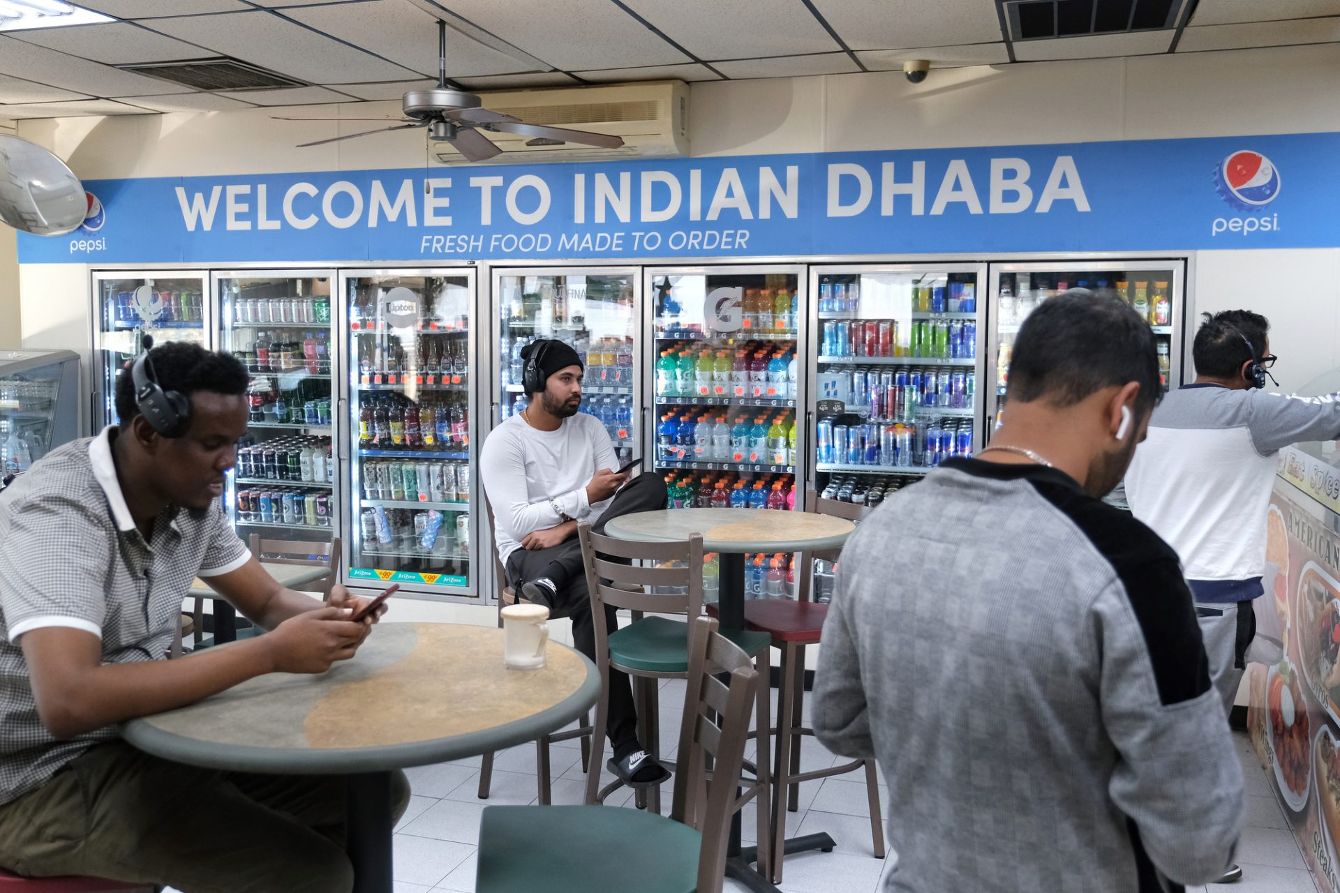 A look inside Eat Spice on Oct. 24, 2019, in the truck stop on route 534 off I-80 in White Haven, Pennsylvania. The restaurant caters to members of the Sikh community and as there is a large population of truckers from that community, the Indian Dhaba and Mediterranean dishes become hard to find on the road.