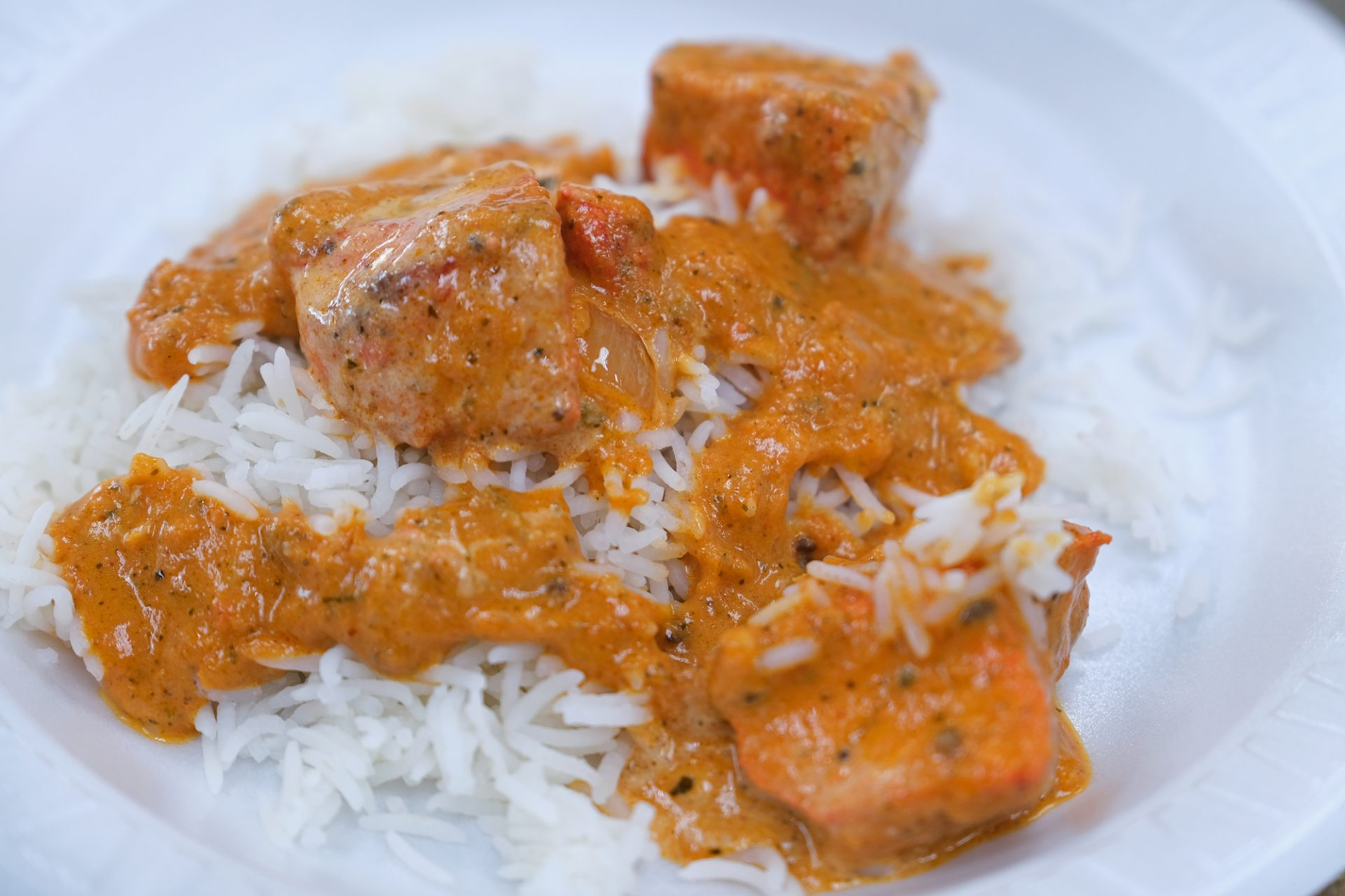 Chicken Tikka Masala is on the menu at Eat Spice on Oct. 24, 2019, in the truck stop on route 534 off I-80 in White Haven, Pennsylvania. The restaurant caters to members of the Sikh community and as there is a large population of truckers from that community, the Indian Dhaba and Mediterranean dishes become hard to find on the road.