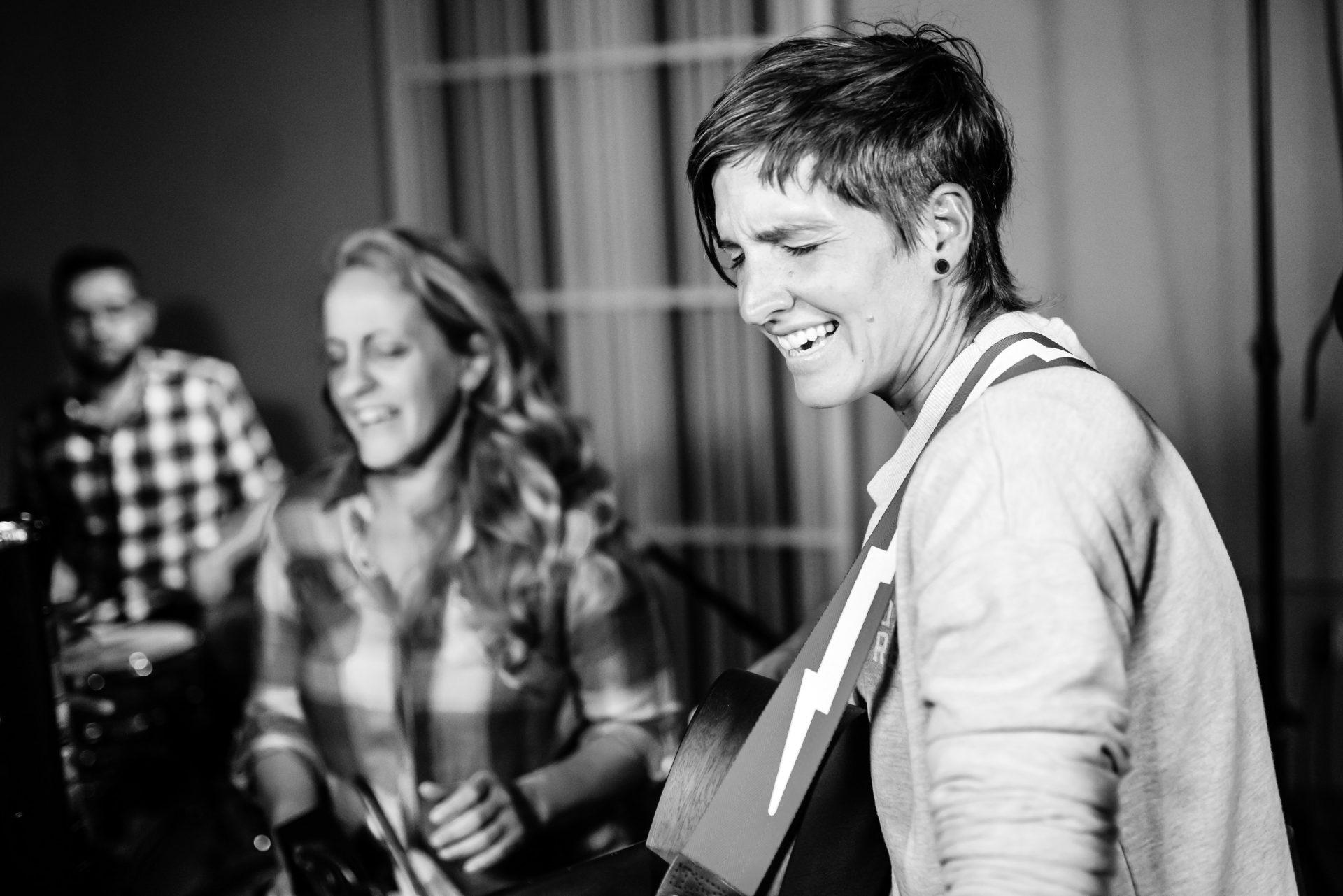Kelly, Jenn and Sarah performing