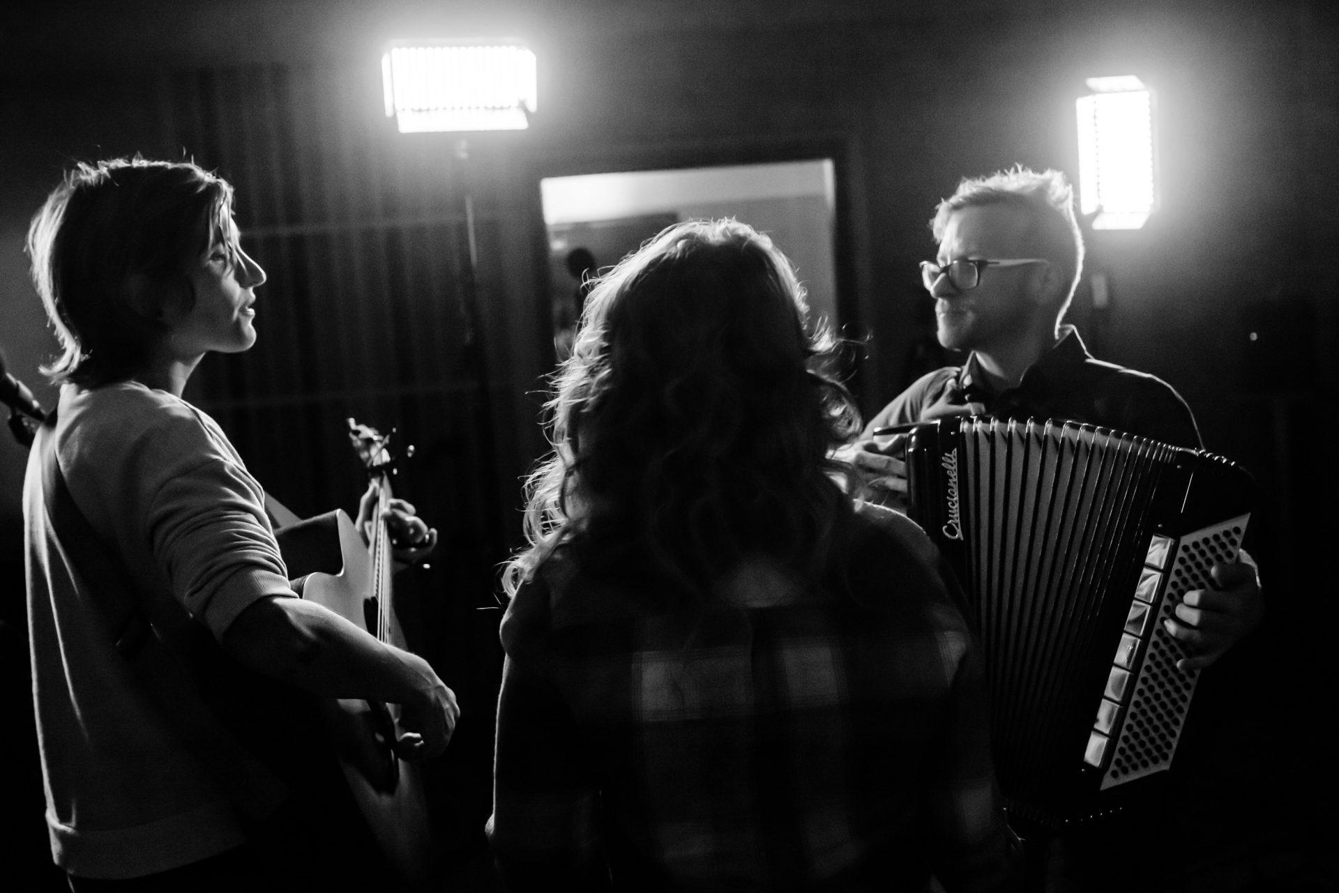 Sarah, Jenn and Jason performing