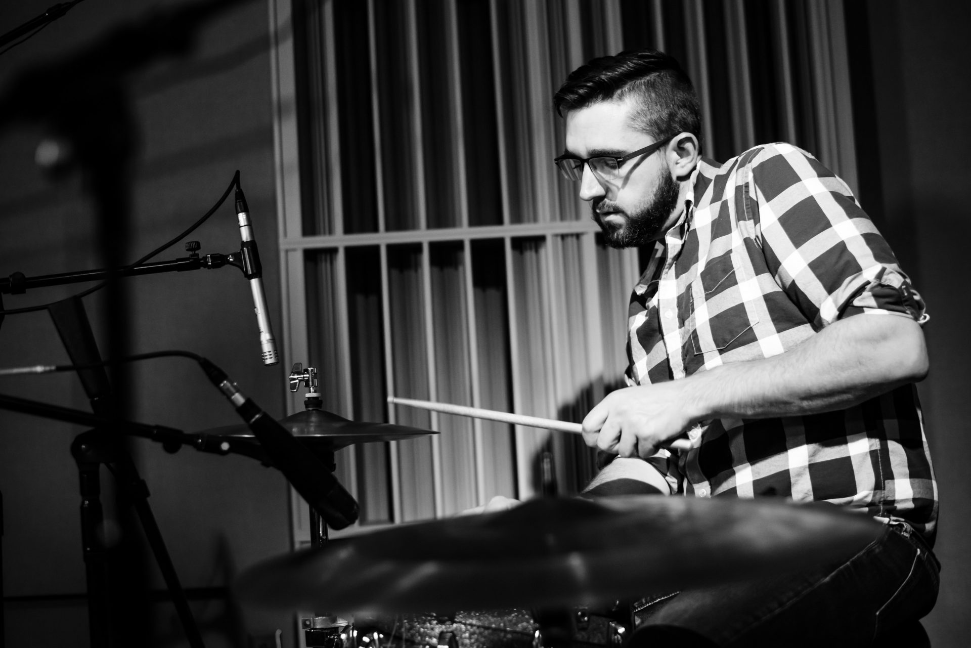 Drummer Kelly McClain performing in the WITF Studio.